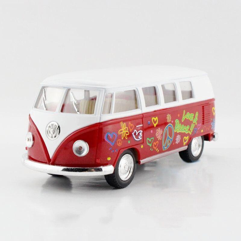 VW Type2 VW 1962 T1 Love&Peace Red 1/32 alloy models model car back T1 VAN pull back car childrens toys car Kids toy