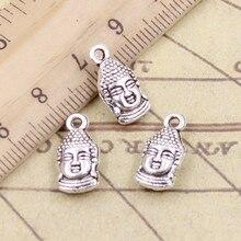 20 pçs encantos cabeça de buda 16x8mm tibetano bronze prata cor pingentes antigo jóias fazendo diy artesanal artesanato