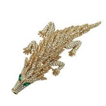 New 3D Flexible Metal Design Crocodile Golden Pangolin Crystal Rhinestone  Animal Brooch Pin 2018 b3e085e1e32a