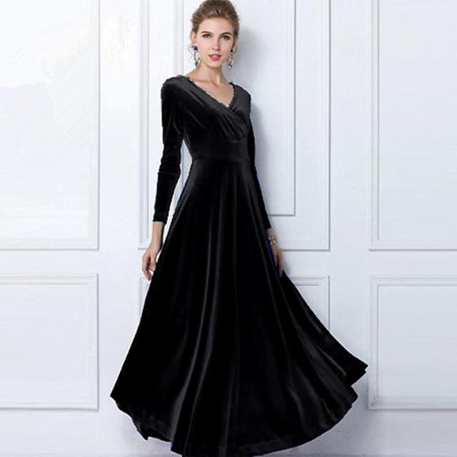 ALABIFU Autumn Winter Dress Women 2019 Casual Vintage Ball Gown Velvet Dress Plus Size 3XL Sexy Long Party Dress Vestidos 4
