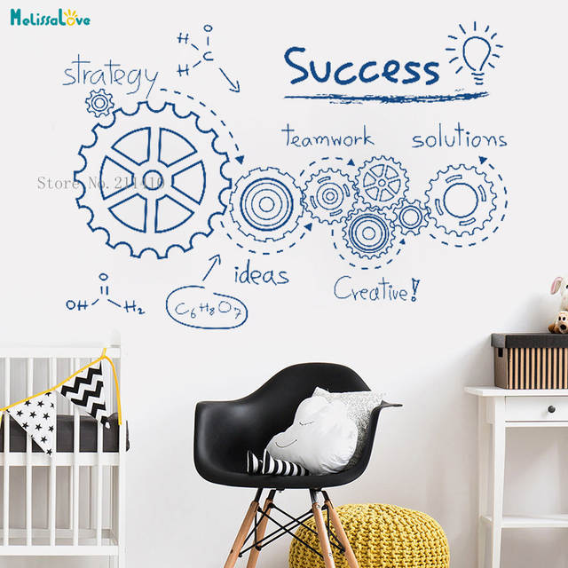 US $8 97 25% OFF Teamwork Gear Wall Sticker Decoration Creative Company  Culture Office Inspirational Living Room Removable Vinyl Murals YT855-in  Wall