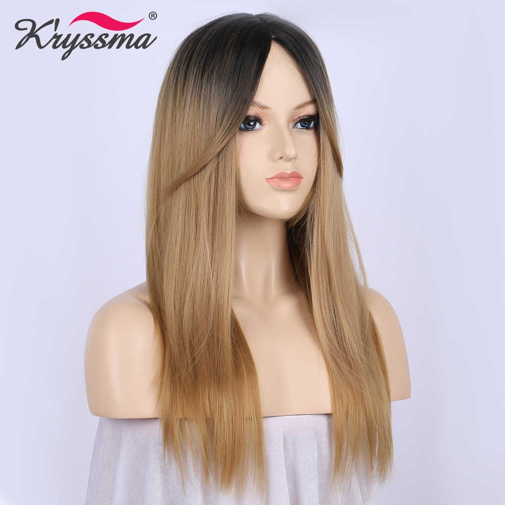 Медовый блонд Омбре парик с черными корнями длинные прямые синтетические волосы парики для женщин с челкой 16 дюймов Термостойкое волокно