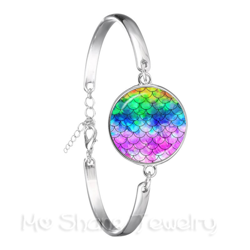 Photo Cabochon Glass Silver Chain chain Pendant Necklace(Rainbow scales