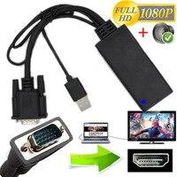 1080 p için vga hdmi + usb ses video kablosu adaptörü dönüştürücü dizüstü pc dvd hd tv