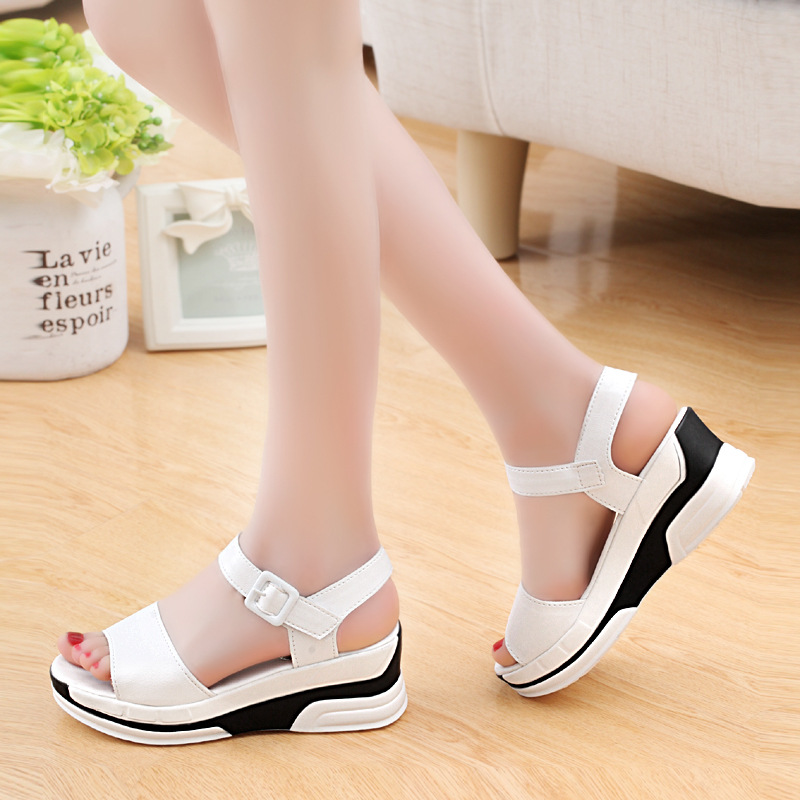 2019 Summer shoes woman Platform Sandals Women Soft Leather Casual Open Toe Gladiator wedges Trifle Mujer Women Shoes Flats