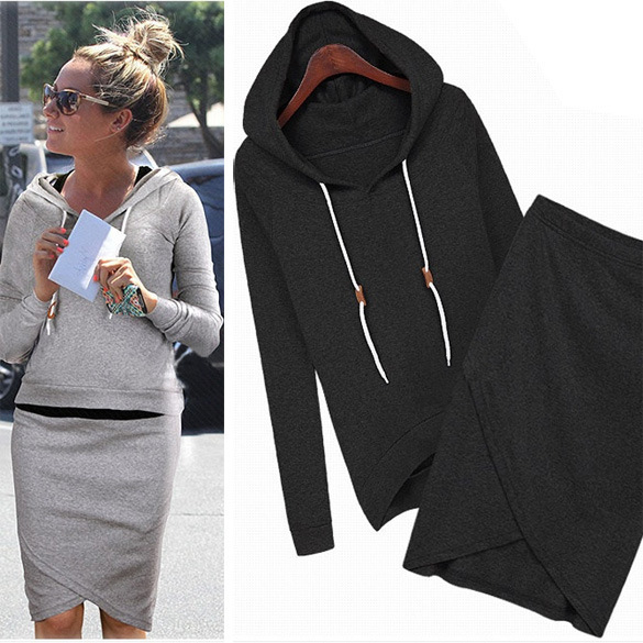 Wanita Sweatshirt Baseball Jacket Casual Skirt SuitsTracksuits Hoodies Suit 2 Piece Set Women
