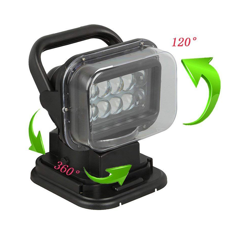 FLYCAR 12V 24V Rotating Remote Control LED Search Light Emergency Construction Working Lamp for Boat Off road Car SUV ATV Boats-in Light Bar/Work Light from Automobiles & Motorcycles    3