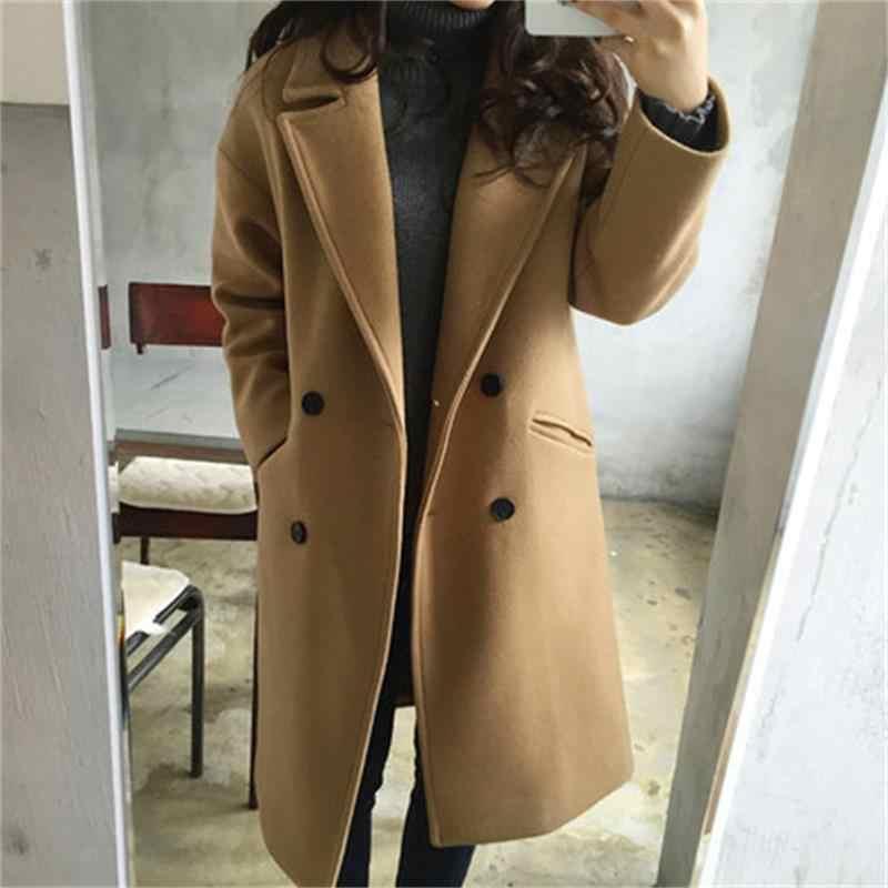 2020 Musim Semi Baru Imitasi Wol Slim Double Breasted Black Jaket Wanita Mantel Panjang Fashion Tx019