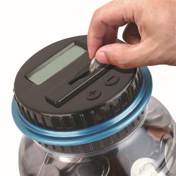 Electronic counting piggy bank euro dollar bucket transparent piggy bank moneybox creative #D7