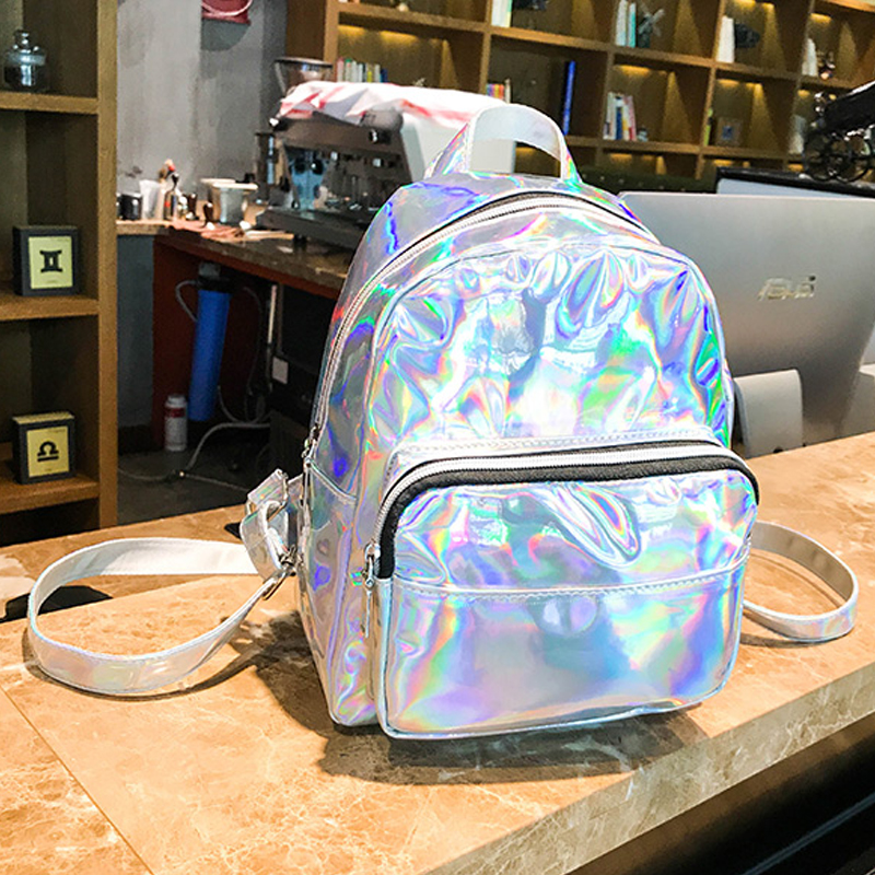 Women School Shiny Laser Mini Travel Student Cute Ladies Leather Hologram Backpacks Silver Small Holographic Backpack 362