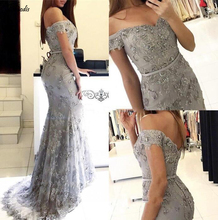 Gray Off the shoulder Sexy Mermaid Evening Dresses Custom 2019 Formal Lace Prom Chapel Train