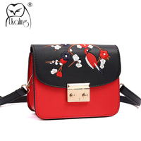UKQLING Small Bags Handbags Women Famous Brands Women Messenger Bags Belt Flap Embroidery Purse Handbag Designer