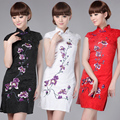 Wholesale High Quality  Handmade Cotton Elegant Vintage Qipao National Costume Women Sexy Floral Chinese Cheongsam Dress!3Colors