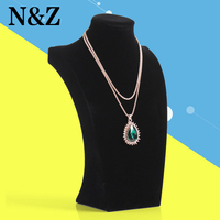 Wholesale Portable 34cm Black Necklace Display Wood And Velvet Material Pendant Necklaces Holder Model Best Jewelry