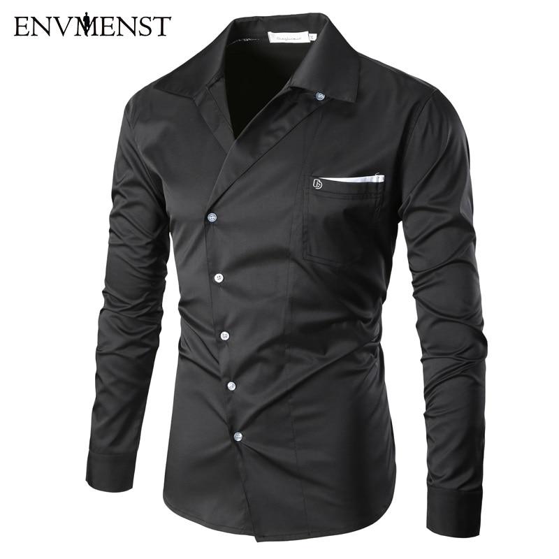 Envmenst 2017 New Male Casual Fashion Men's Spring Turn Down collar Oblique Button Designed slim shirt long sleeved Dress Shirt