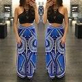 Mujeres bohemias hippie largo elástico de pierna ancha ocasional pantalones flare pantalones de impresión ocasional s-xl