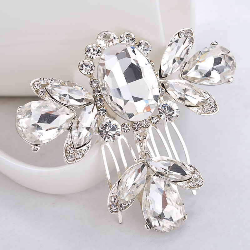 Big CZ Diamond Jewelry Wedding Tiara Sparkling Crystal Bridal Hair Combs Hairpin