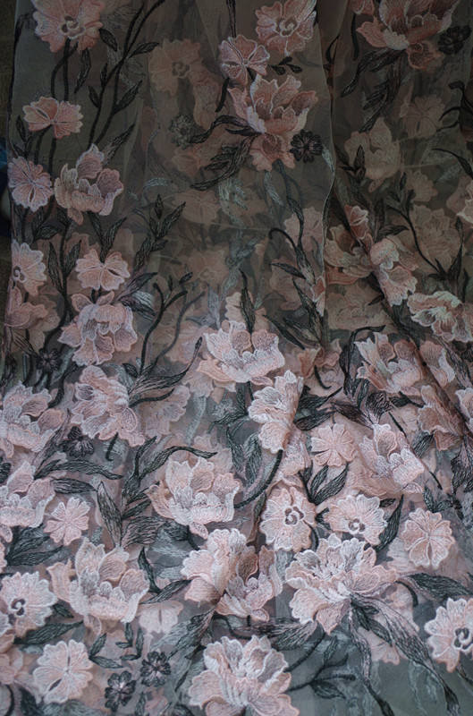 1 yard heavy embroidered tulle lace fabric mix colored lace fabric with pink florals deluxe embroidery