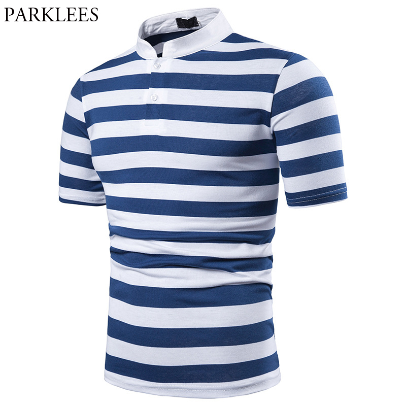 Mens Stand Collar Blue Striped   Polo   Shirts 2019 Summer New Short Sleeve   Polo   Shirt Homme Slim Fit Daily Work Leisure   Polo   Hombre