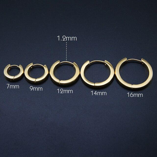 Small Hoop Earrings Women Circle Men High Polish Stainless Steel Round Jewelry Ear