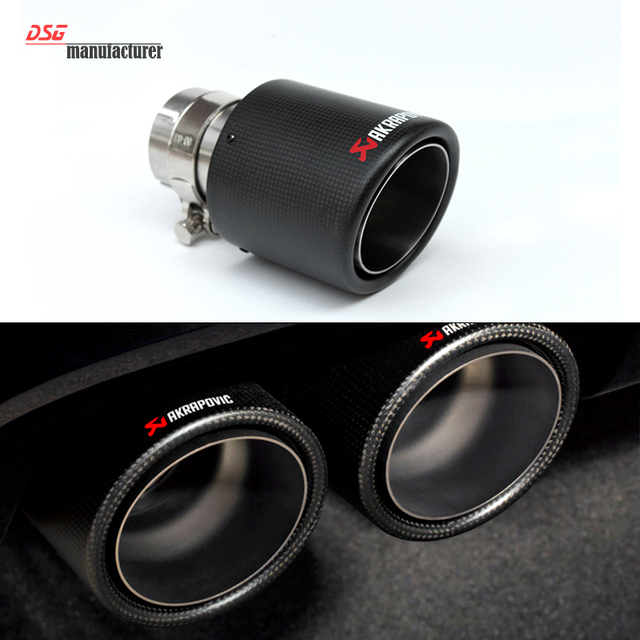 63mm/101mm Carbon Fiber Coated Stainless Steel Universal Car Exhaust Pipe Tip Tailtip  Akrapovic Car Exhaust Matte Black