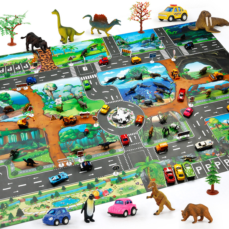 130X100CM Kids Dinosaur Park Map Baby Toys Car Parking Map Children's Traffic Learning Map Portable Pad Foldable Play Game Mat
