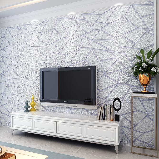High Quality Thick Flocked Modern Geometry 3D Wallpaper For Walls Decor Home  Wall Paper Rolls For Living Room Sofa TV Background In Wallpapers From Home  ...