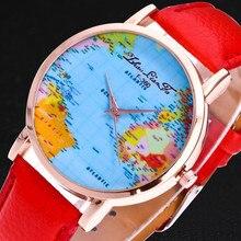 7bcc3a5c370 Venda quente Mini Mundo Da Moda Relógio de Quartzo Homens Unisex Mapa Avião  Viajar Ao Redor Do Mundo As Mulheres Vestido de Reló.