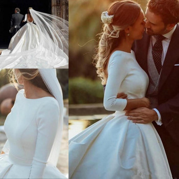 White A Line Satin Wedding Dresses Long Sleeves Backless Bridal Dresses Plus Size 2020 Court Train Boho Wedding Gowns for Brides