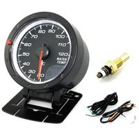 Universal 12V 2.5 Inch 60mm Car Motor Gauge Water Temperature Meter Black Shell with Red & White Lighting