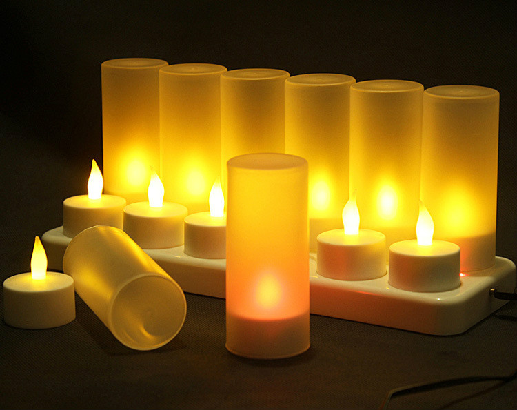 12 rechargeable candle light creative advertising romantic birthday candlelight dinner LED electronic decorative lights light led - title=