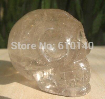 285G Sculpté quartz FUMÉ Cristal Pierre crâne reiki guérison