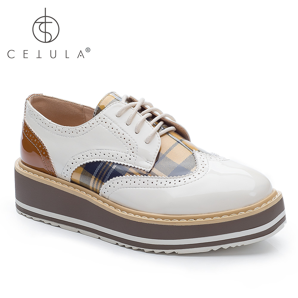 75d56a4eb21b9f  Cetula 2018 Handcrafted Lace-up Brogue Detailed Glass Patent Vamp Plaid  Women Oxford Derby Shoes