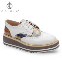 @Cetula 2018 Handcrafted Lace up Brogue Detailed Glass Patent Vamp Plaid Women Oxford&Derby Shoes ft. Stitching Wedged Heels