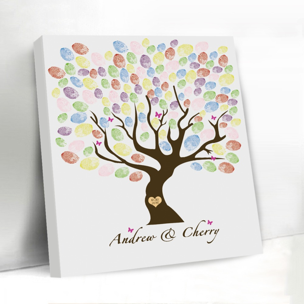Guest Book Wedding Decoration Ideas: Vintage Fingerprint Wedding Tree Butterfly Customized