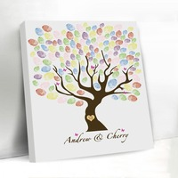 Vintage Fingerprint Wedding Tree Butterfly Customized Wedding Decoration Favors Guest Book Engagement Canvas Guestbook with Name