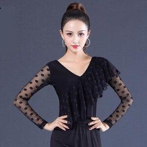 Image 4 - สีดำ Ballroom V Neck ruffle เต้นรำละตินสำหรับผู้หญิง/หญิง/หญิง dancerwears, ผ้าพันคอยาวสวมใส่ YR0906