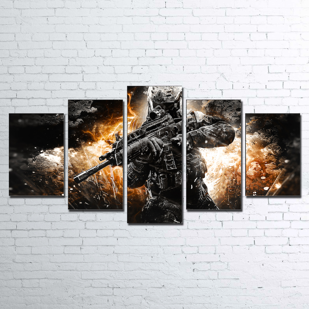Wall Art Home Decor Frame Abstract Canvas Pictures 5 Pieces Call Of Duty Black Action Paintings HD Printed Game Posters PENGDA