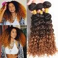 Ломбер Малайзийские волосы глубокая волна 3 связки 8а Афро Глубоко Вьющиеся Weave Ombre Человеческих Волос Темно-Коричневый Девственница Вьющиеся Волосы Пучок Сделок