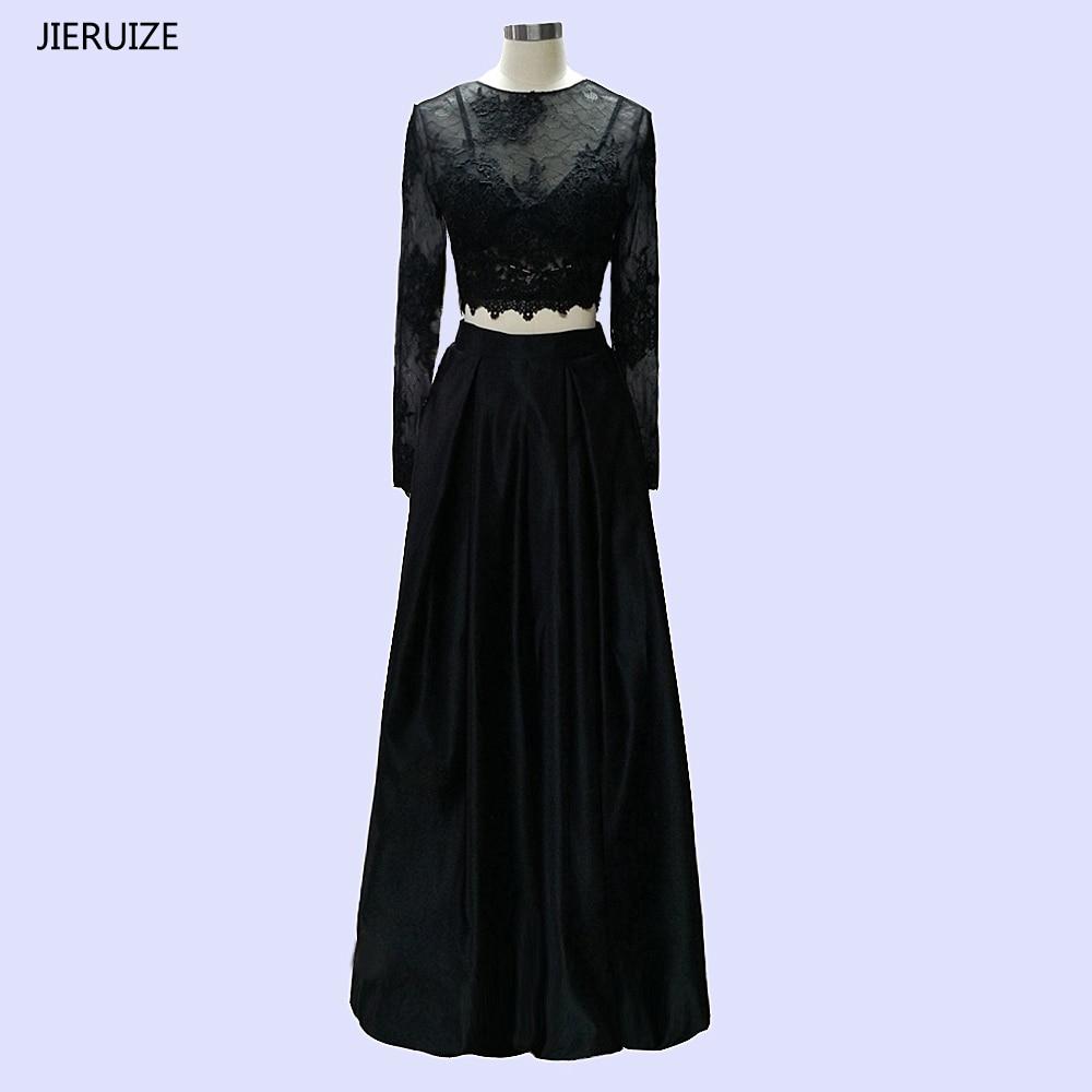 JIERUIZE Pizzo nero due pezzi Prom Dresses maniche lunghe abiti da sera da sera robe de soiree abendkleider