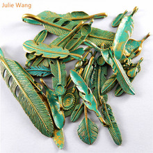 ФОТО julie wang random 14pcs antique bronze feather metal alloy pendant charms necklace bracelet jewelry findings making accessories