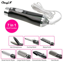 CkeyiN 7 In 1 Multifunction Hot Air Brush Styler Electric Hair Blow Dryer Hairdryer Set Hair Curler/Straightening Styling Tools