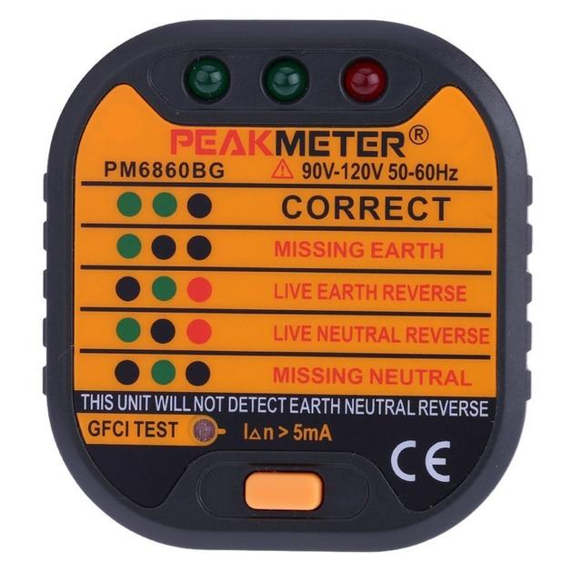 PEAKMETER PM6860BG Automatische Elektrische Steckdose Tester Neutral ...