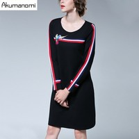 Autumn Winter Striped Dress Full Sleeve Bird Print Empire Black Women Clothes Spring Dress Plus Size