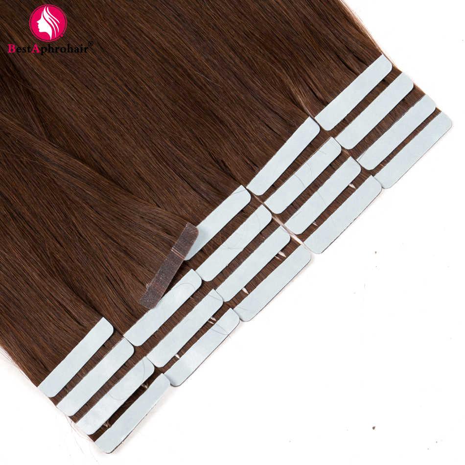 Афро-парик, 20 шт, лента для наращивания волос, не Реми, бразильские прямые волосы, 100% человеческие волосы, уток #1 # 1b #2 #4 #6 #8 #12 #27 #613 # 99j