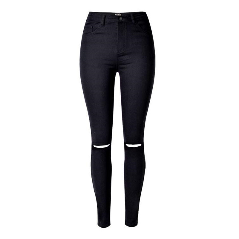 Online Shop New design Elasticity Pencil Pants Holes black Skinny ...