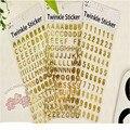 3 sheets/lot  21.5*10cm Silver/Gold Korea DIY Scrapbook Digital Letter Decorative Sticker Number stickers 240pcs