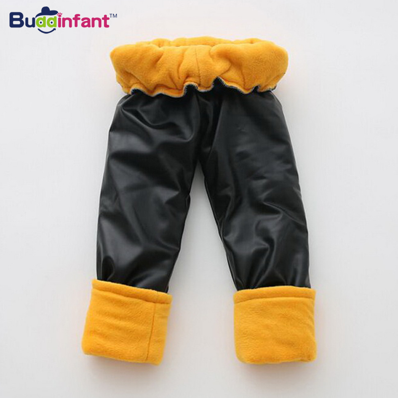 Buddinfant new 2016 winter kids boys faux pu leather pant plus velvet thickening baby girls boy legging Trousers high quality