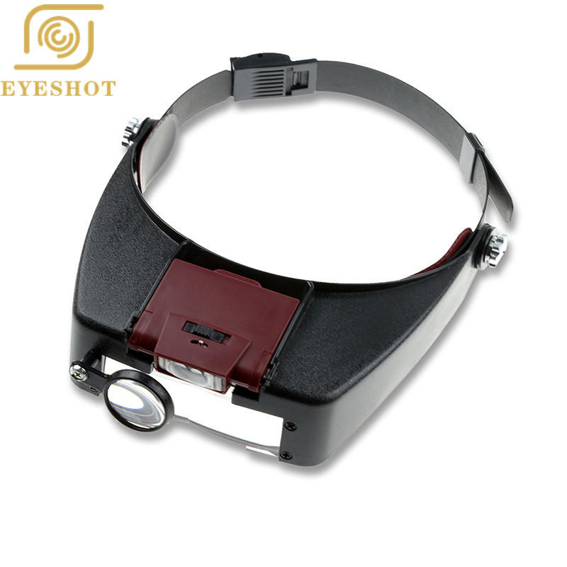 Hotsale Estilo Capacete Lupa Lupa Óculos Lupa Microscópio Lupas Con Luz LED luzes de Leitura ou Uso de Reparação