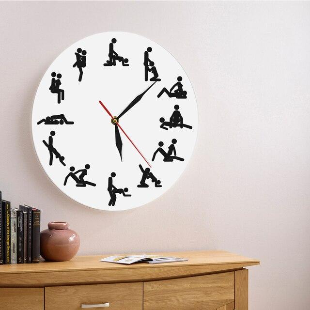 d83c1f32fa7 1 Peça de 24 horas Relógio de Parede Contemporânea Kamasutra Posições  Sexuais Impertinentes 12